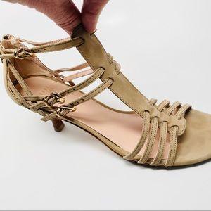 Stuart Weitzman Beige Suede Strappy Kitten Sandals